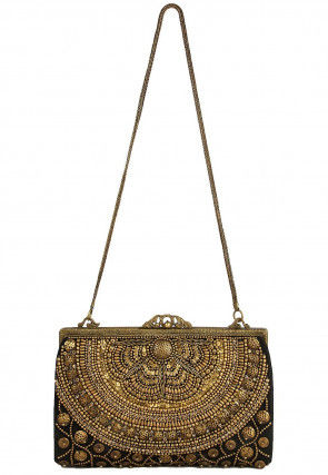 Hand Embroidered Satin Batua Clutch in Black and Golden