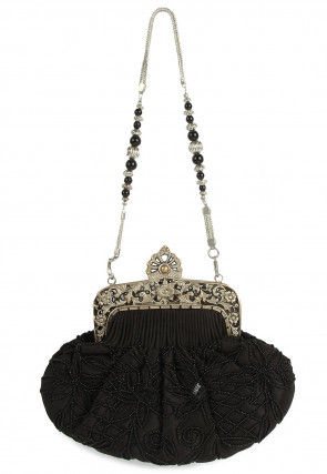 Hand Embroidered Satin Batua Clutch in Black
