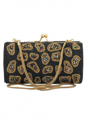 Hand Embroidered Satin Brass Frame Box Clutch in Black