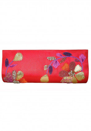 Hand Embroidered Satin Envelope Clutch Bag in Red