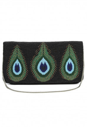 Hand Embroidered Satin Flap Clutch in Black