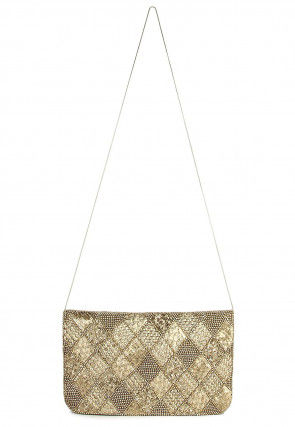 Hand Embroidered Satin Flap Clutch in Golden