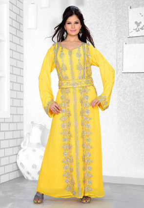 Hand Embroidered Satin Georgette Abaya in Yellow
