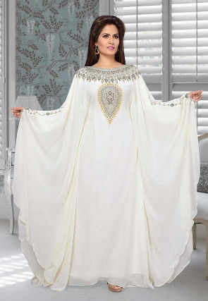 Hand Embroidered Satin Georgette Farasha Kaftan in Off White
