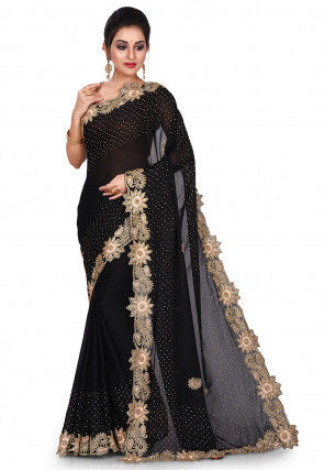 Hand Embroidered Satin Georgette Saree in Black