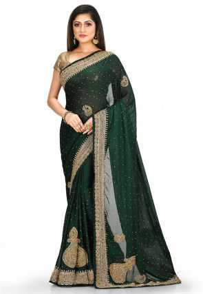 Hand Embroidered Satin Georgette Saree in Dark Green