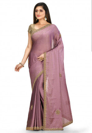 Hand Embroidered Satin Georgette Saree in Dusty Purple