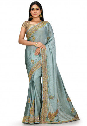 Hand Embroidered Satin Georgette Saree in Grey