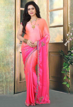 Hand Embroidered Satin Georgette Saree in Shaded Peach and Fuchsia