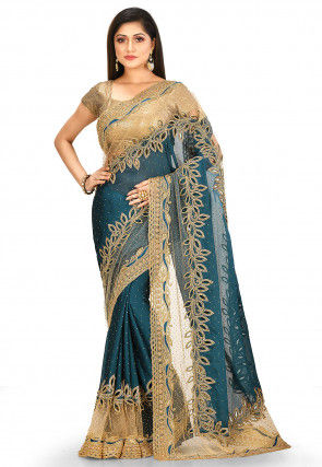 Hand Embroidered Satin Georgette Saree in Teal Blue