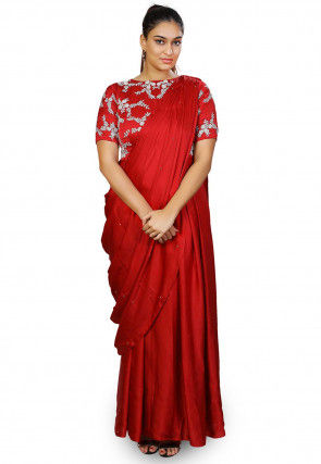 Hand Embroidered Satin Georgette Saree Style Gown in Red