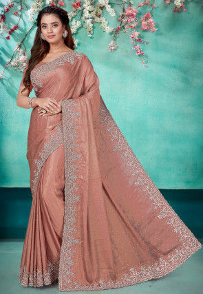 Hand Embroidered Satin Georgette Scalloped Saree in Dusty Peach