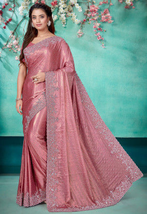 Hand Embroidered Satin Georgette Scalloped Saree in Dusty Pink