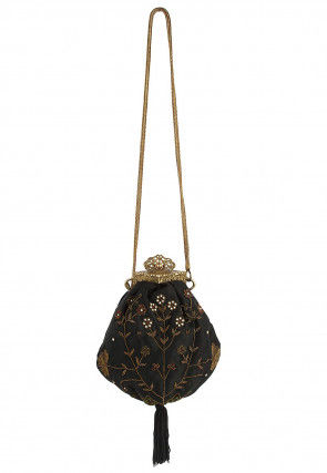 Hand Embroidered Satin Hand Crafted Brass Frame Potli in Black