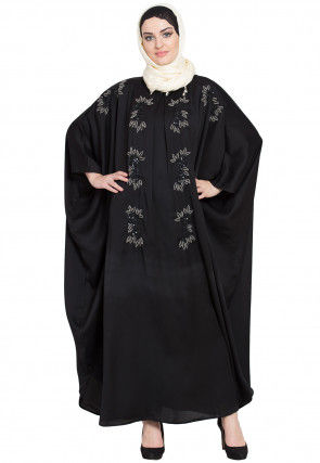 Hand Embroidered Satin Kaftan in Black