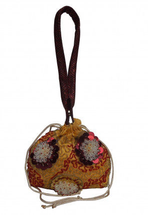 Hand Embroidered Satin Potli Bag in Yellow