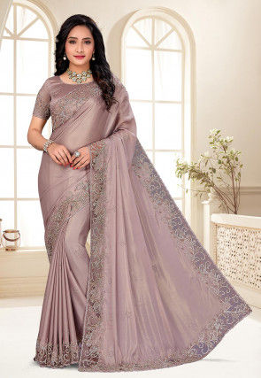 Hand Embroidered Satin Saree in Light Old Rose