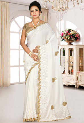 Hand Embroidered Satin Saree in Off White