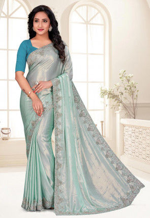 Hand Embroidered Satin Saree in Sea Green