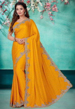 Hand Embroidered Satin Scalloped Saree in Mustard