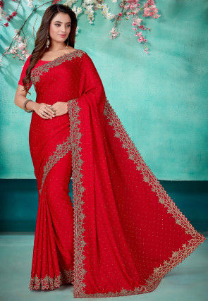 Hand Embroidered Satin Scalloped Saree in Red