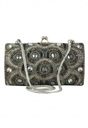 Hand Embroidered Satin Silver Plated Brass Frame Box Clutch in Grey