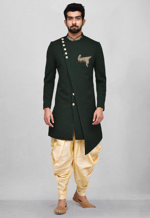 Hand Embroidered Scuba Asymmetric Dhoti Sherwani in Dark Green