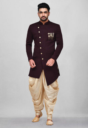 Hand Embroidered Scuba Asymmetric Dhoti Sherwani in Maroon