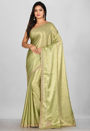 Hand Embroidered Shimmer Georgette Saree in Light Green