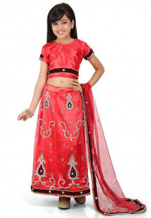 Hand Embroidered Shimmer Net A Line Lehenga in Coral