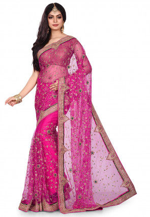 Hand Embroidered Shimmer Net Saree in Fuchsia