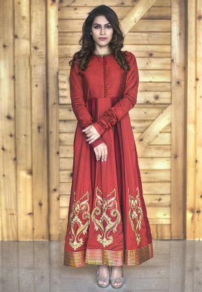 Hand Embroidered Silk Abaya Style Suit in Maroon