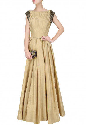 Hand Embroidered Sleeve Art Silk Flared Gown in Beige