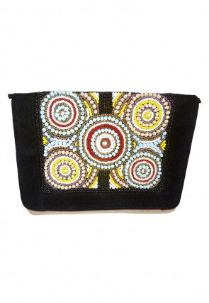 Hand Embroidered Suede Envelope Clutch Bag in Black and Beige