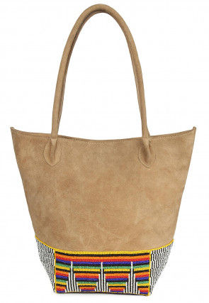 Hand Embroidered Suede Handbag in Beige
