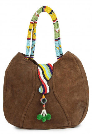 Hand Embroidered Suede Handbag in Brown