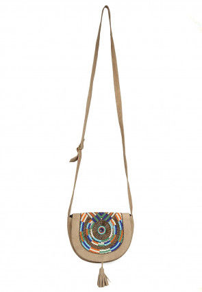 Hand Embroidered Suede Sling Bag in Beige and Multicolor