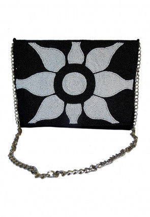 Hand Embroidered Suede Sling Bag in Black