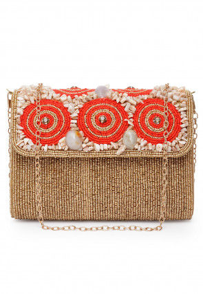 Hand Embroidered Swede Clutch Cum Sling Bag in Beige and Orange