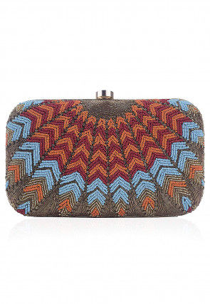 Hand Embroidered Synthetic Box Clutch Bag in Multicolor