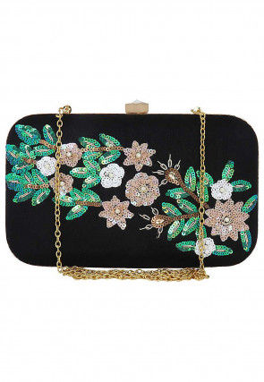 Hand Embroidered Synthetic Box Clutch Cum Sling Bag in Black