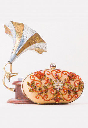 Hand Embroidered Synthetic Oval Box Clutch in White and Orange