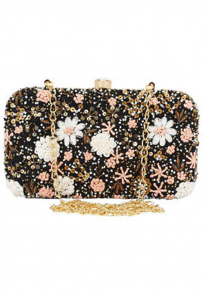 Hand Embroidered Synthetic Rectangular Clutch Bag in Black
