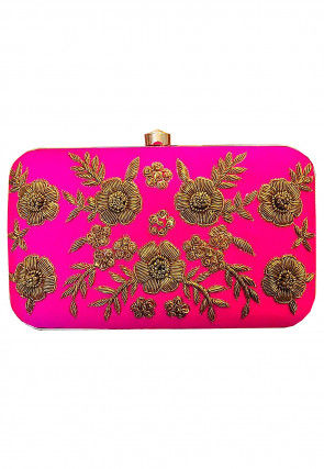 Hand Embroidered Synthetic Rectangular Clutch Bag in Fuchsia