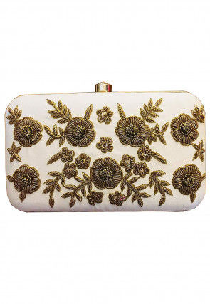 Hand Embroidered Synthetic Rectangular Clutch Bag in Off White