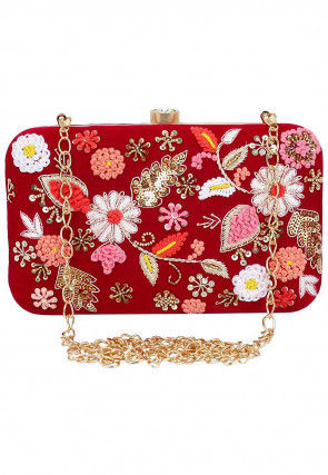 Hand Embroidered Synthetic Rectangular Clutch Bag in Red