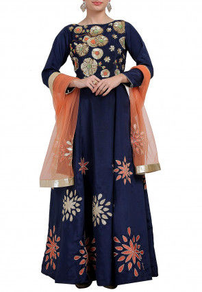 Hand Embroidered Taffeta Silk Abaya Style Suit in Navy Blue