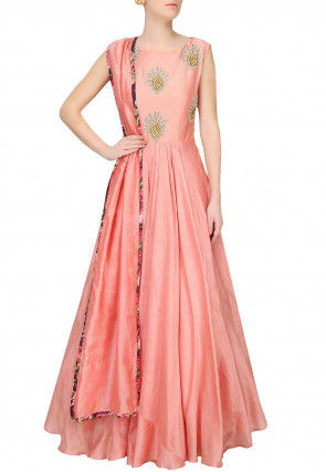 Hand Embroidered Taffeta Silk Abaya Style Suit in Pink