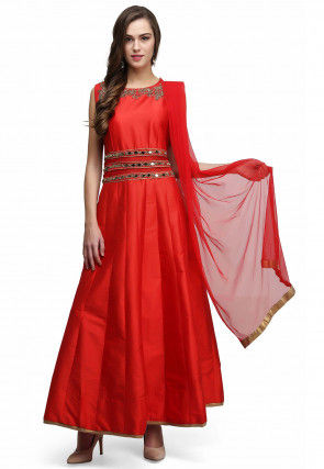 Hand Embroidered Taffeta Silk Abaya Style Suit in Red