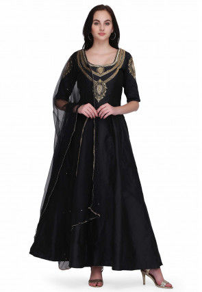 Hand Embroidered Taffeta Silk Anarkali Suit in Black